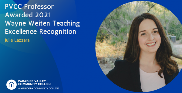 PVCC Professor Awarded 2021 Wayne Weiten Teaching Excellence Recognition