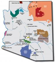 Arizona map showing all indigenous tribes.